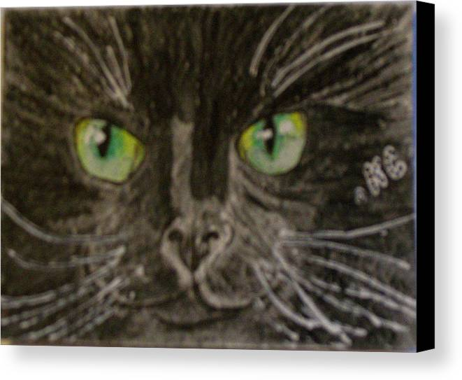 Halloween Canvas Print featuring the painting Halloween Black Cat I by Kathy Marrs Chandler