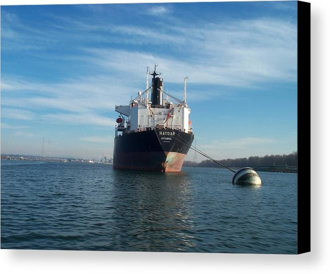 Ship Canvas Print featuring the photograph Haydar At Anchor by Alan Espasandin