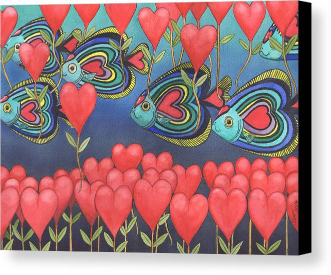 Valentine Canvas Print featuring the painting Heart Fish by Catherine G McElroy