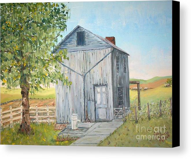 Old Gray Building Beside Green Tree; 2 Kinds Of Fence Canvas Print featuring the painting Homeplace - The Washhouse by Judith Espinoza