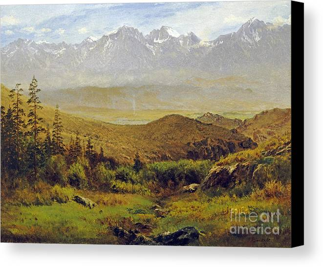 Albert Bierstadt Canvas Print featuring the painting In The Foothills Of The Rockies by Celestial Images