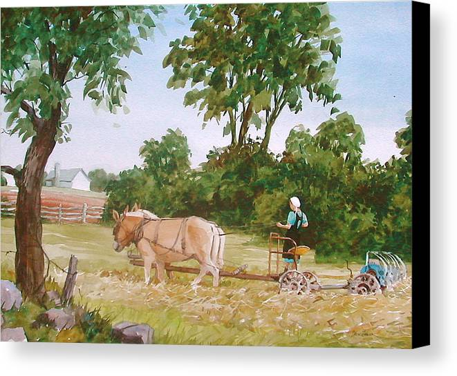 Amish Canvas Print featuring the painting In The Hayfield by Faye Ziegler