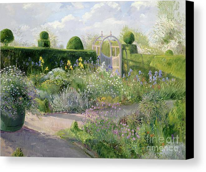 Iris; Flower; Gate; Border; Topiary; Garden; Flowers; Trees; Herb Canvas Print featuring the painting Irises In The Herb Garden by Timothy Easton