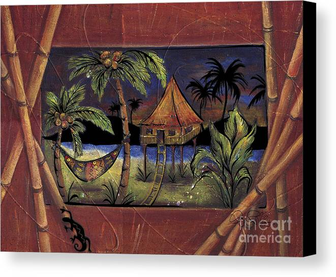 Tropical Canvas Print featuring the painting Island Night by Gina Rivas-Velazquez