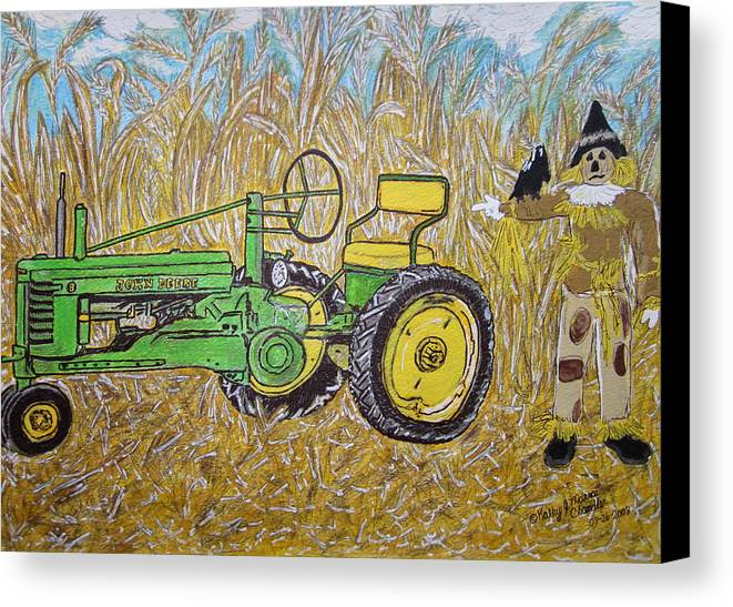 John Deere Canvas Print featuring the painting John Deere Tractor And The Scarecrow by Kathy Marrs Chandler