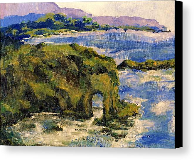 Ocean Canvas Print featuring the painting Key Hole Arch Bright Sun by Randy Sprout