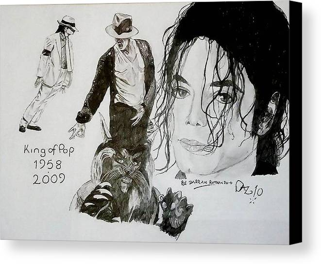 Michael Jackson Canvas Print featuring the drawing King Of Pop by Darran Rothan
