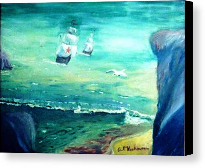 Fantasy Seascape Pre Columbus Nordic Explorers Canvas Print featuring the painting Land Ahoy by Alfred P Verhoeven