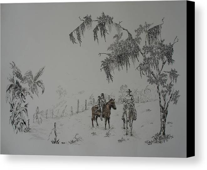 Landscape Canvas Print featuring the drawing Leaving Home by Gloria Reyes Diaz