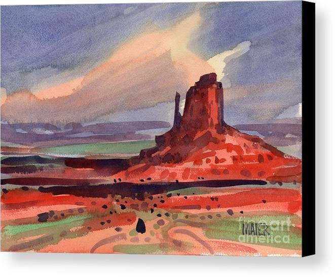 Left Mitten Canvas Print featuring the painting Left Mitten At Sunset by Donald Maier