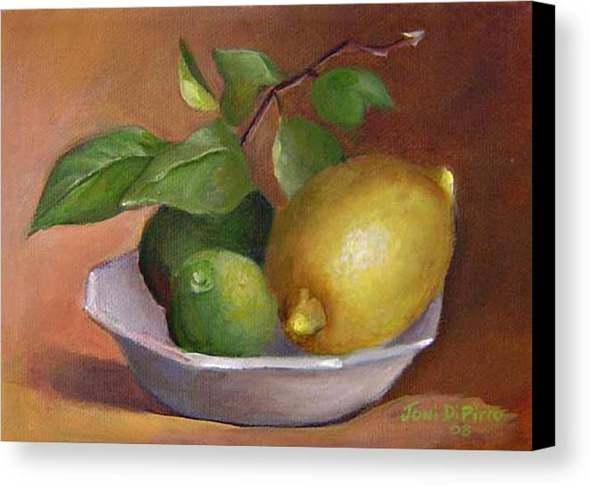 Still Life Canvas Print featuring the painting Lemon And Limes Still Life by Joni Dipirro
