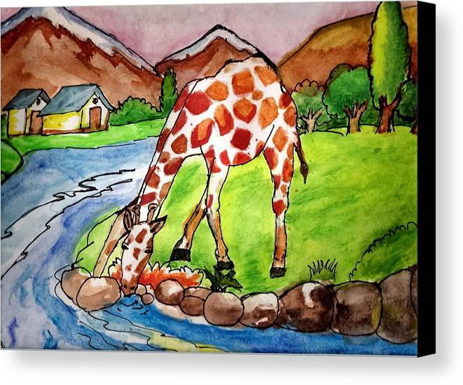 Landscape Canvas Print featuring the painting Let Me Drink by Archit Singh