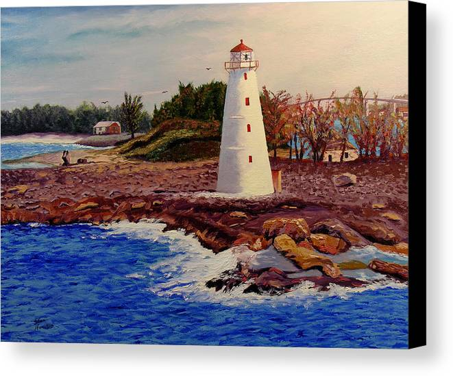Original Oil On Canvas Canvas Print featuring the painting Light House by Stan Hamilton
