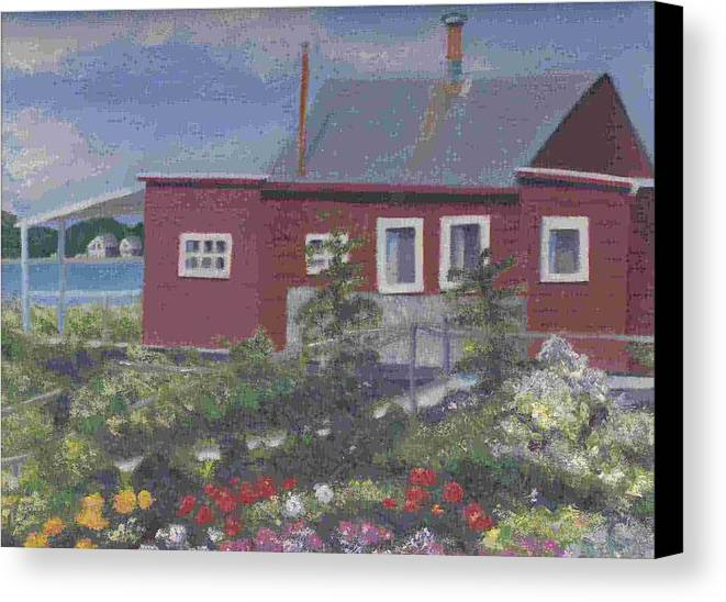Seascape Canvas Print featuring the painting Lobster Shack At Fenwick by Paula Emery