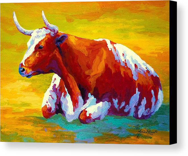 Western Canvas Print featuring the painting Longhorn Cow by Marion Rose