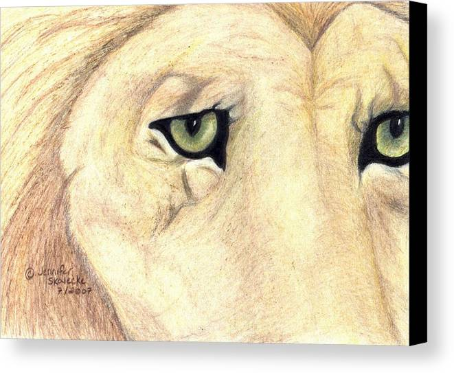 Lion Canvas Print featuring the drawing Longing by Jennifer Skalecke