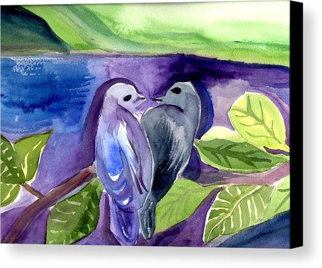 Birds Canvas Print featuring the painting Lovers by Janet Doggett