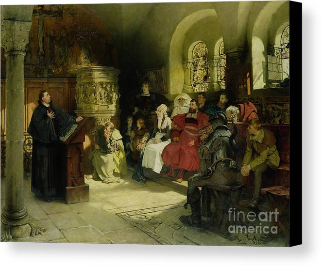 Vogel Canvas Print featuring the painting Luther Preaches Using His Bible Translation While Imprisoned At Wartburg by Hugo Vogel