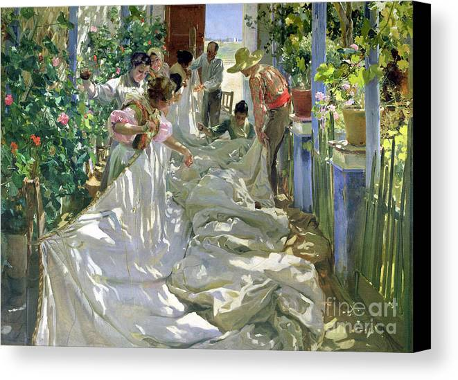 Sewing;straw Hat;geranium;sunshine;worker;workers;greenhouse;conservatory;interior; Pagoda Canvas Print featuring the painting Mending The Sail by Joaquin Sorolla y Bastida