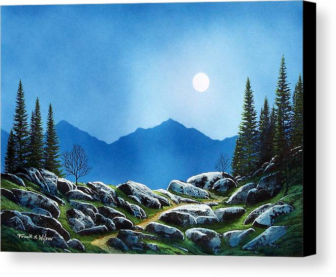 Landscape Canvas Print featuring the painting Moonlight Hike by Frank Wilson