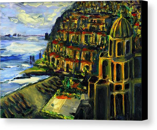 Positano Canvas Print featuring the painting Moonlight Over Positano by Randy Sprout