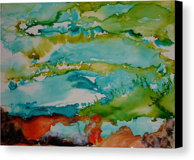 Wave Canvas Print featuring the mixed media Mother Ocean by Susan Kubes
