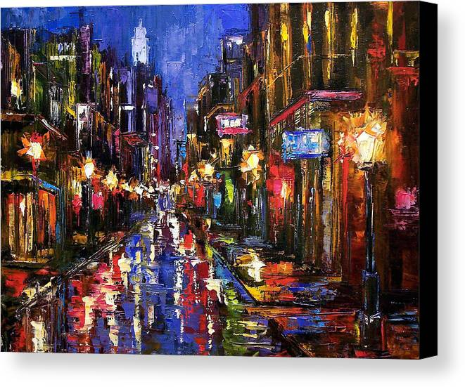 Cityscape Canvas Print featuring the painting New Orleans Storm by Debra Hurd