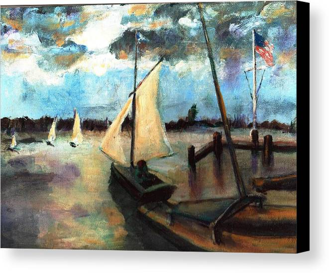 Newport Canvas Print featuring the painting Newport Moonlight Sail by Randy Sprout