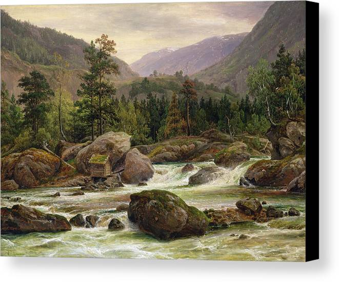 Norwegian Canvas Print featuring the painting Norwegian Waterfall by Thomas Fearnley