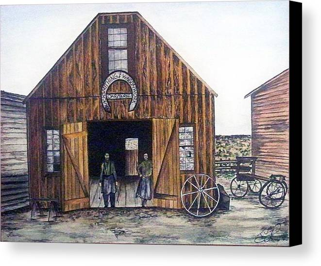 Historic Canvas Print featuring the painting Oar And Burke Blacksmithing And Wagonworks by Tammera Malicki-Wong