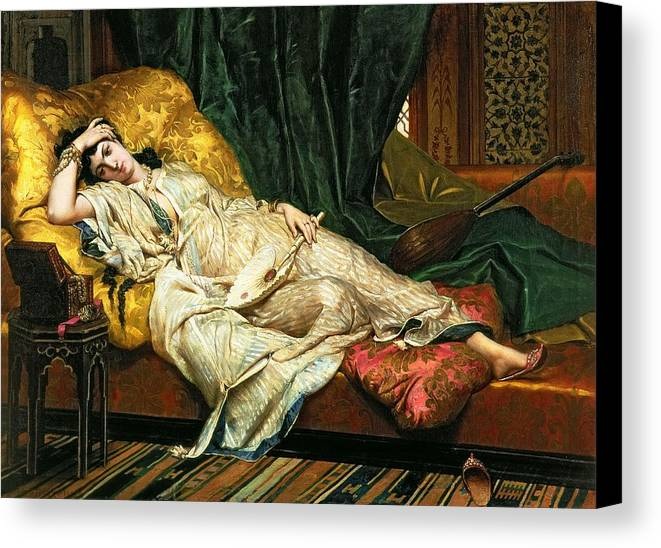 Odalisque Canvas Print featuring the painting Odalisque With A Lute by Hippolyte Berteaux