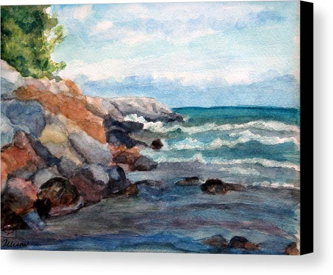 Seascape Canvas Print featuring the painting On The Rocks by Stephanie Allison