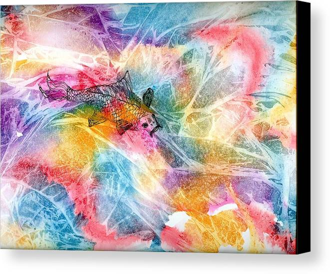 Koi Canvas Print featuring the painting One Fat Koi by Laura Johnson