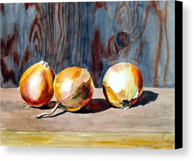Still Life Canvas Print featuring the print Onions In The Sun by Anne Trotter Hodge