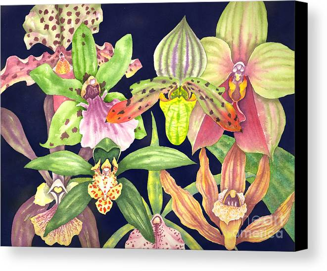 Orchids Canvas Print featuring the painting Orchids by Lucy Arnold