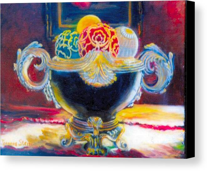 Black Ornate Bowl Canvas Print featuring the painting Ornate Black Bowl by Jeanene Stein