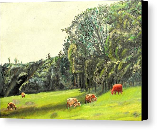 Pasture Canvas Print featuring the painting Out To Pasture by Keith Bagg