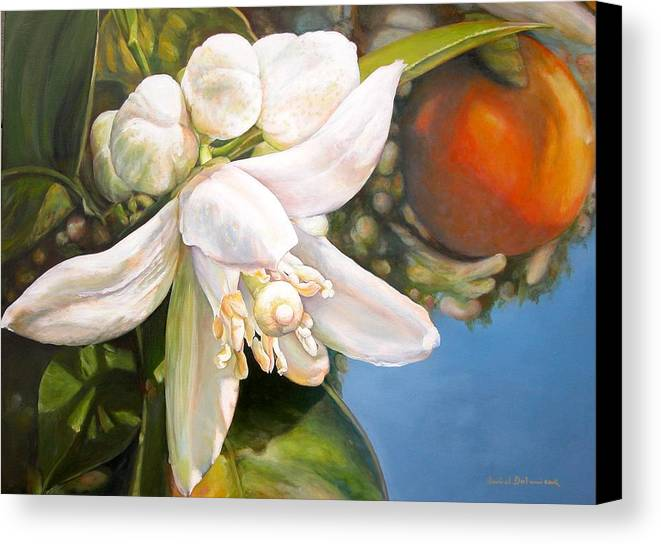 Floral Painting Canvas Print featuring the painting Parfum D by Muriel Dolemieux
