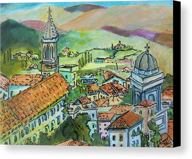 Perugia Canvas Print featuring the painting Perugia Italy by Mindy Newman