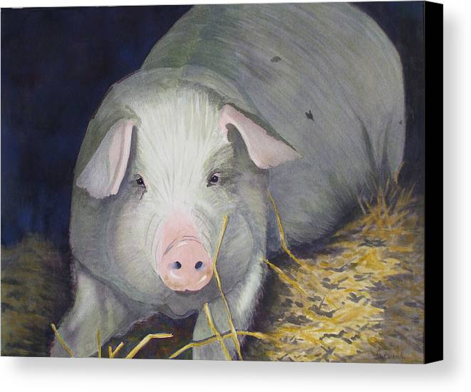 Pig Canvas Print featuring the painting Petunia by Ally Benbrook