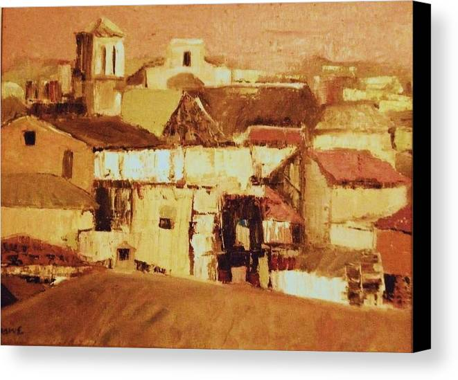 Rooftops Canvas Print featuring the painting Pink Sky Granada by Renee Rowe