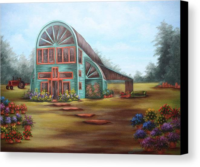Greenhouse Canvas Print featuring the painting Plants For Sale by Ruth Bares