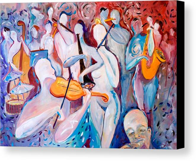 Music Canvas Print featuring the painting Play The Music by Delilah Smith