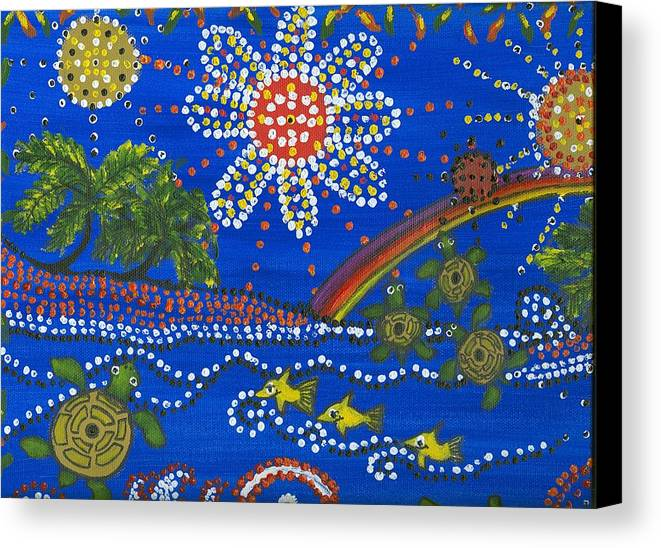 Ocean Party Canvas Print featuring the painting Playing In The Sun by Laura Johnson