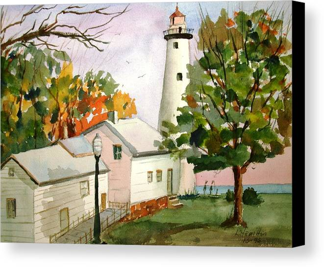 Watercolor Canvas Print featuring the painting Point Aux Barques Lighthouse - Port Hope Mi by Larry Hamilton