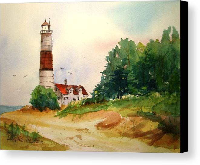 Watercolor Canvas Print featuring the painting Point Betsie Lighthouse Michigan by Larry Hamilton