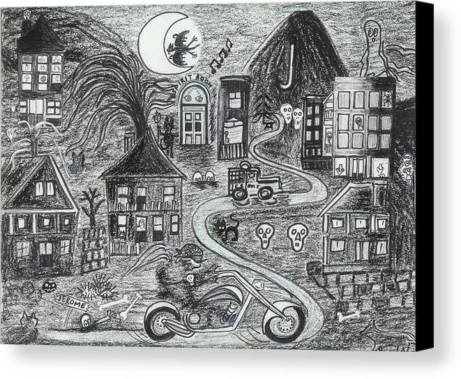 Canvas Print featuring the drawing Police On Halloween Night Jerome Az. by Ingrid Szabo