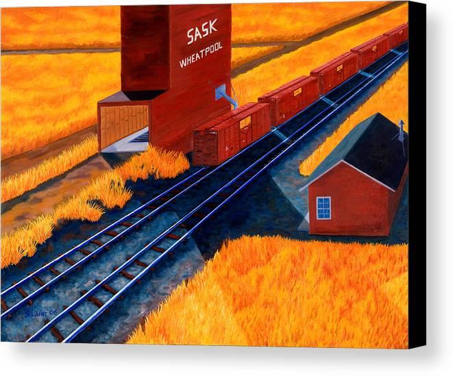 Wheatpool Canvas Print featuring the painting Prarie Wheatpool by Blaine Filthaut