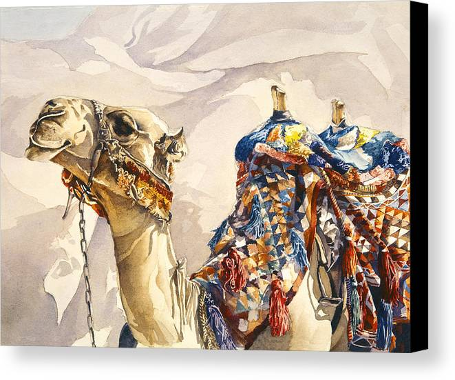 Camel Canvas Print featuring the painting Prince Of The Desert by Beth Kantor
