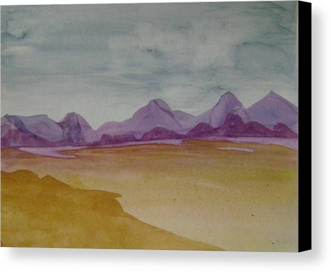Purple Mounatians Canvas Print featuring the painting Purple Mountains 2 by Dottie Briggs